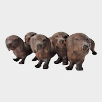 Old Cast Metal Pack of Dachsunds Dashounds