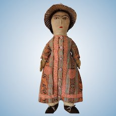 Antique American Cloth Doll 19th C with Clothes