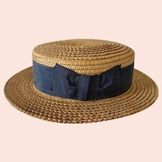 Old Straw Boater Hat