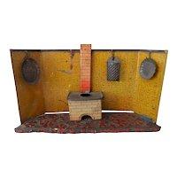 Antique Nuremberg Tin Kitchen Doll Room w Accessories