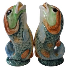 Old Majolica Dolphin Fish Salt and Pepper
