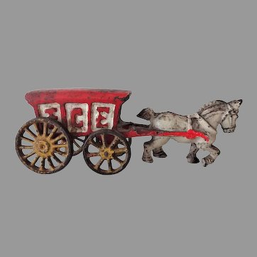 Old Hubley Cast Iron Horse and Wagon