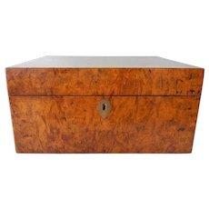 Antique Burl Walnut Sewing Box w Contents