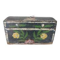 Antique Dome Top Folk Art Painted Box