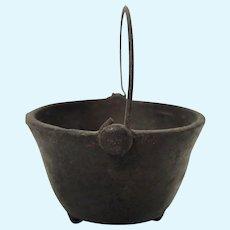 Old Dollhouse Miniature Three-Leg Iron Pot