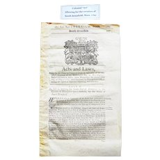 Colonial Act 1762 Document for S. Brimfield