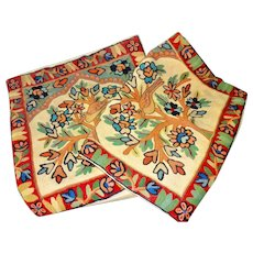 Vintage Crewel Work Embroidered Pillow Cases