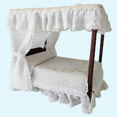 Old Dollhouse Four Post Canopy Bed