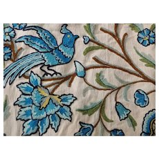 Old Crewel Embroidery Bedspread