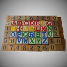 Old ABC Alphabet and Number Wood Blocks