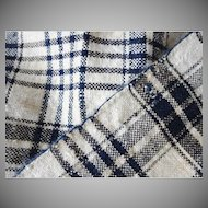 Indigo and White Home Spun Linen Yardage