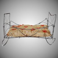 Old French Wire Wrap Doll Bed