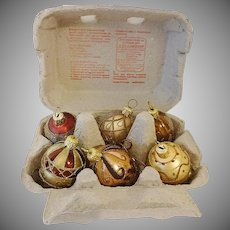 Jeweled and Golden Glass Egg Ornaments