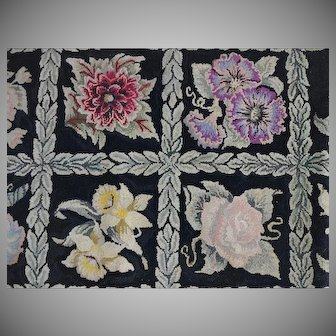 Old Pearl McGowan Hooked Rug - Garden's Gift