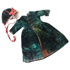 Victorian Dolls Velvet Coat and Hat