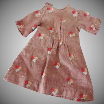 Old Dolls Dress - Brown Calico Print