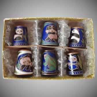 Vintage Cloisonne Thimbles - Boxed Set
