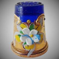 Vintage Cobalt Glass with Gold Trim Thimble