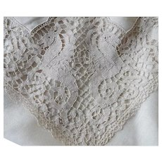Antique Italian Figural Lace and Linen Table Cloth