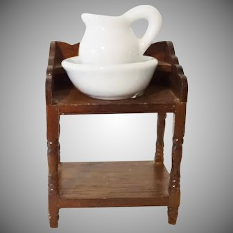 Old Doll House Wash Stand with Pitcher and Bowl