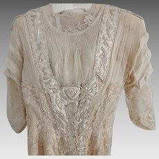 Antique Satin and Lace Wedding Gown 1880s-1900
