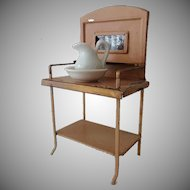 Old Doll House Tin Wash Stand, Pitcher, Bowl - Germany