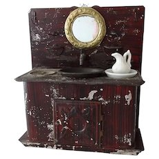 Antique Rock and Graner Vanity Washstand with Accessories