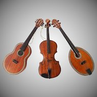 Vintage Set String Instruments Christmas Ornaments