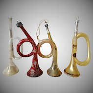 Old Collection Christmas Glass Horn Ornaments