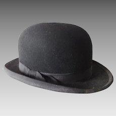 68abd7c5633 Pristine Vintage Edwardian Stetson Black Felt Bowler or Derby Hat ...