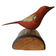 Old Carved Bird - Signed