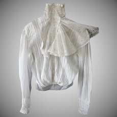 Victorian Lace Ruffle and Embroidered Lace Blouse