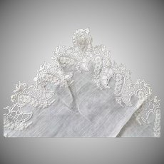 Victorian Lace, Embroidery and Monogram Wedding Hanky