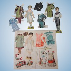 Old Paper Dolls - Boy and Girl with Clothes