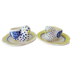 Vintage Quimper Egg Cups - Pair