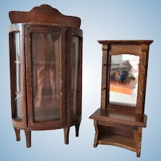 Vintage Dollhouse China Cabinet and Mirrored Hall Stand