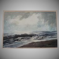 Mid-Century Seascape Water Color Painting - Signed