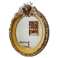 Shellwork and Gilt Oval Frame Mirror - Red Tag Sale Item