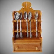 Dollhouse Colonial Spoon Rack w Spoons Chestnut Hill Studio