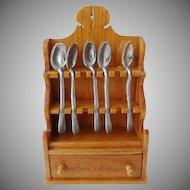 Dollhouse Colonial Spoon Rack w Spoons Chestnut Hill Studio