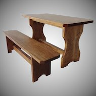 Doll House Farm Table and Bench - Artist Signed