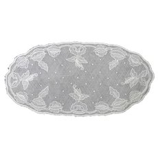 Old Brussels Lace Doily - Oval