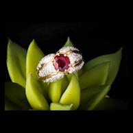 Rare Ruby Diamond Ring, Diamond Pave Ruby Ring, 14k Yellow Gold