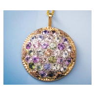 Sapphire Suite Pendant -Hand Fabricated 950 Platinum 18k Yellow 18k Rose Gold Pendant - One of a Kind