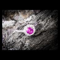Pink Sapphire Engagement Ring Diamond Halo,  14k White Gold
