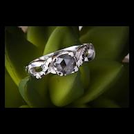 Black Rose Cut Diamond Engagement Ring, 14k White Gold Infinity Engagement Ring