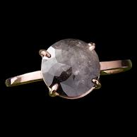 Salt and Pepper Diamond Ring, 3 carat Diamond in 14k Rose Gold