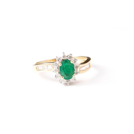 Emerald & Diamond Engagement Ring, 14k Yellow Gold