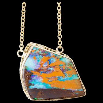 Boulder Opal Necklace 18K Yellow Gold Necklace Lightning Ridge Boulder Opal Australian