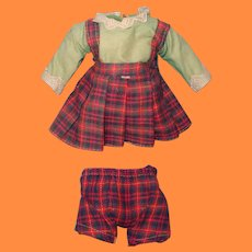 "Cute 1930s 2pc School Girl Dress Sett for 11"" Composition or Bisque Doll"
